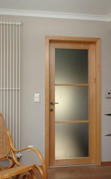Porte vitrée sablée